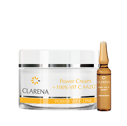 CLARENA Power Cream + 100% Vit C Krem z 100% aktywną witaminą C AA2G™ 50 ml + 1,5 ml